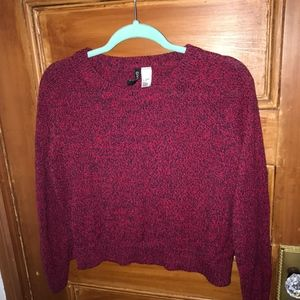 Red and Black Cropped Sweater